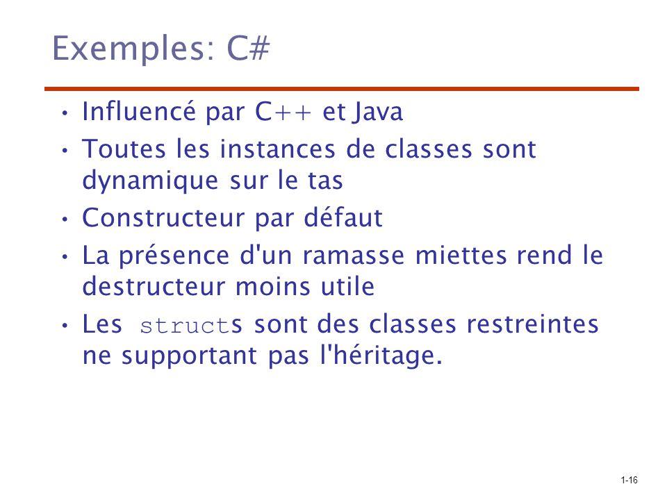 Exemples: C# Influencé par C++ et Java