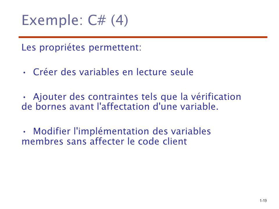 Exemple: C# (4) Les propriétes permettent: