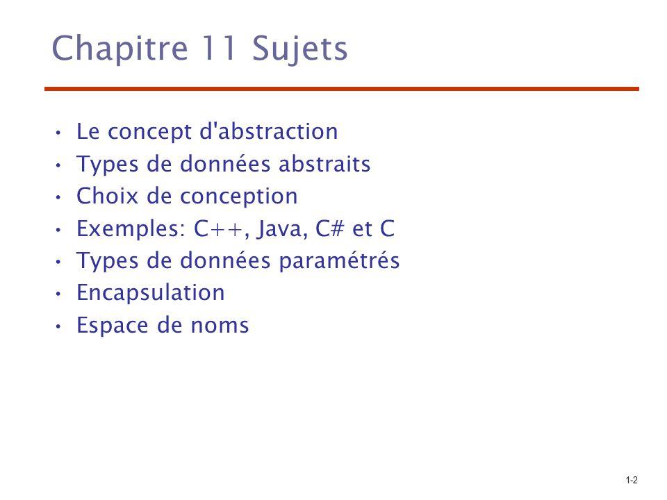Chapitre 11 Sujets Le concept d abstraction Types de données abstraits