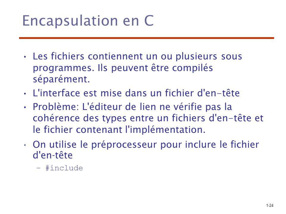 Encapsulation en C Les fichiers contiennent un ou plusieurs sous programmes. Ils peuvent être compilés séparément.