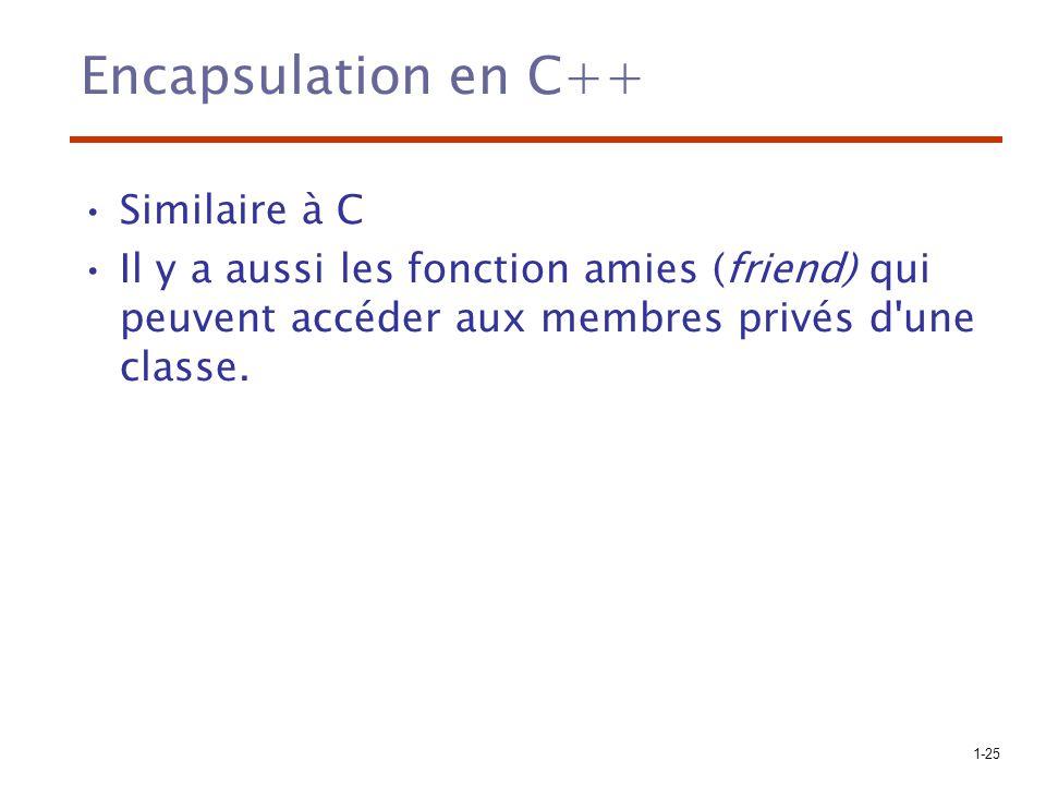 Encapsulation en C++ Similaire à C