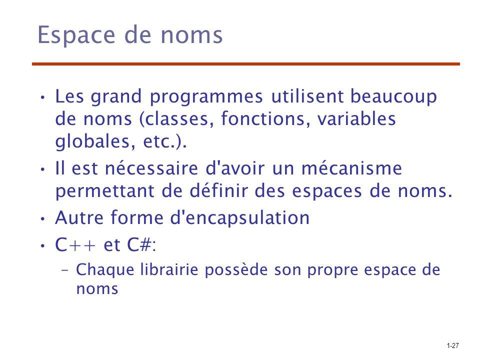 Espace de noms Les grand programmes utilisent beaucoup de noms (classes, fonctions, variables globales, etc.).