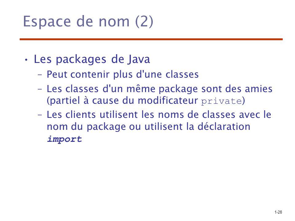 Espace de nom (2) Les packages de Java