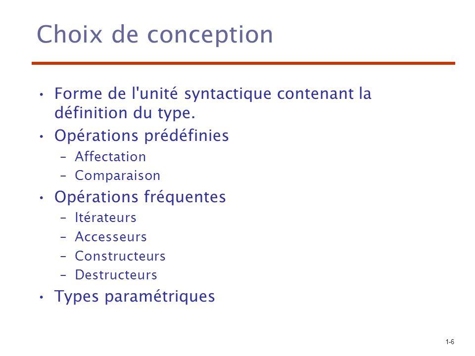 Choix de conception Forme de l unité syntactique contenant la définition du type. Opérations prédéfinies.