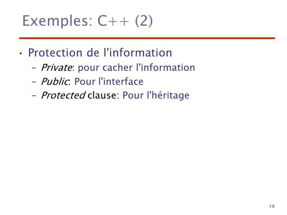 Exemples: C++ (2) Protection de l information