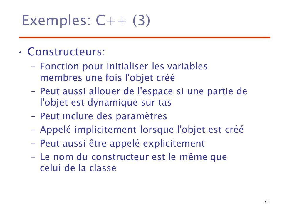 Exemples: C++ (3) Constructeurs: