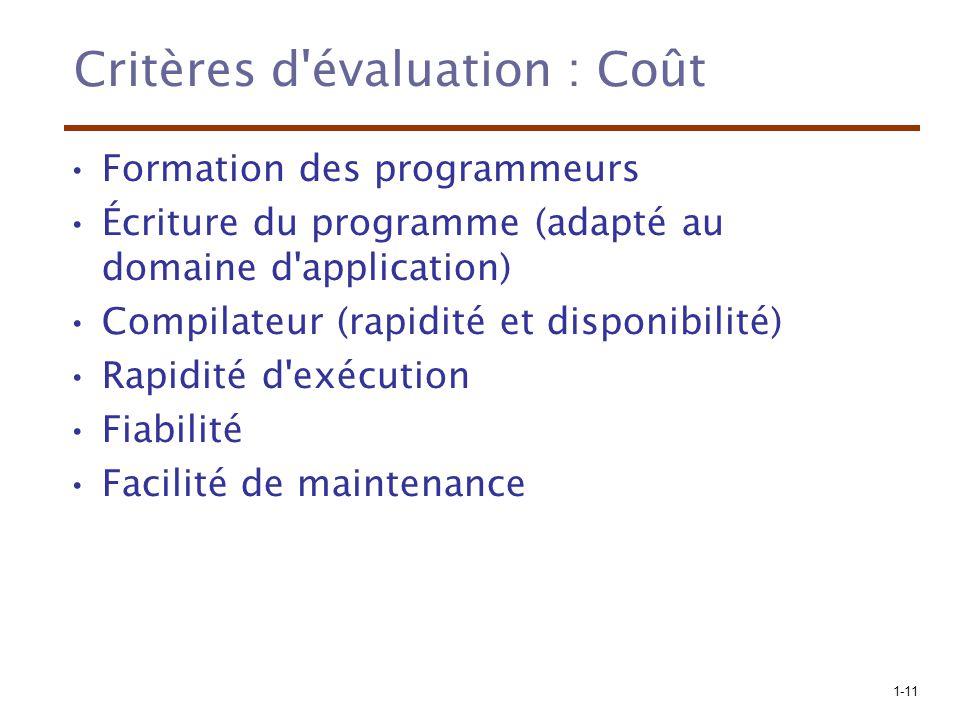 Critères d évaluation : Coût
