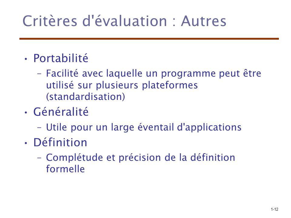 Critères d évaluation : Autres