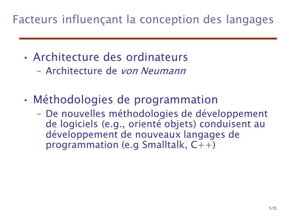 Facteurs influençant la conception des langages