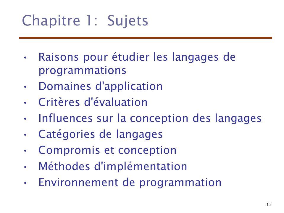 Chapitre 1: Sujets Raisons pour étudier les langages de programmations