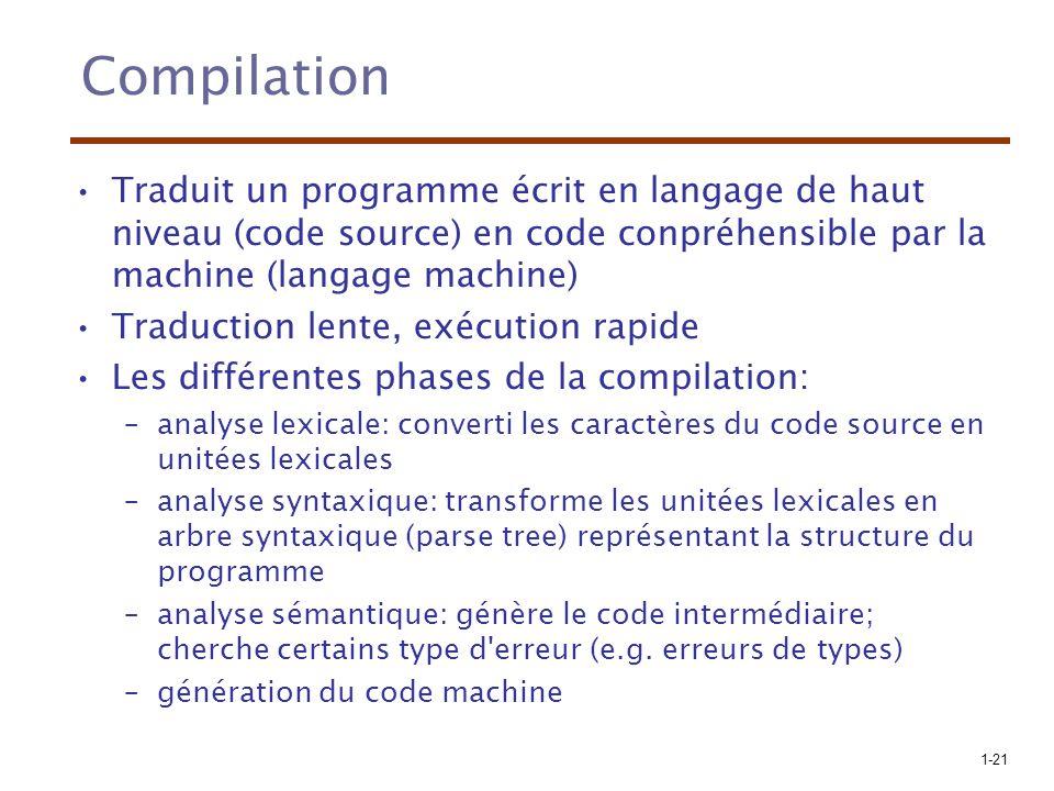 Compilation Traduit un programme écrit en langage de haut niveau (code source) en code conpréhensible par la machine (langage machine)