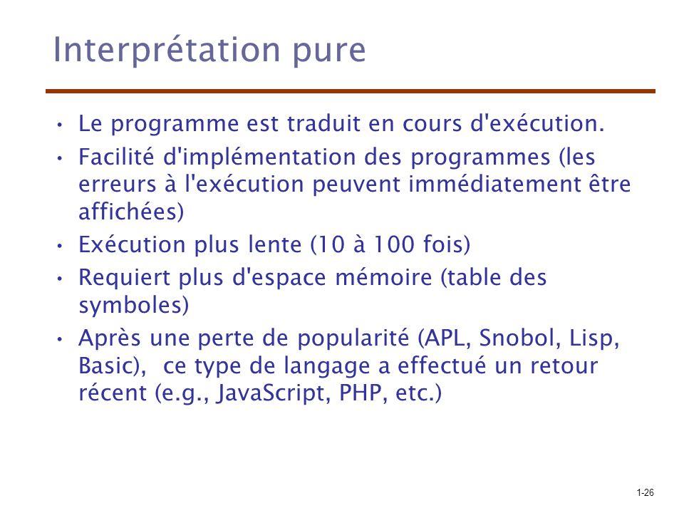 Interprétation pure Le programme est traduit en cours d exécution.