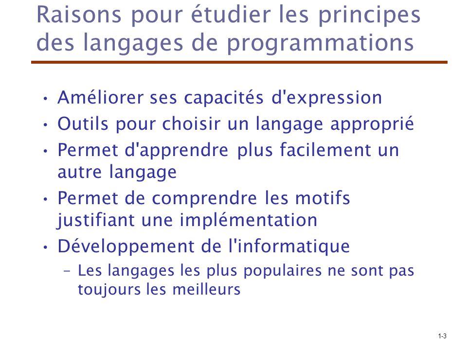 Raisons pour étudier les principes des langages de programmations