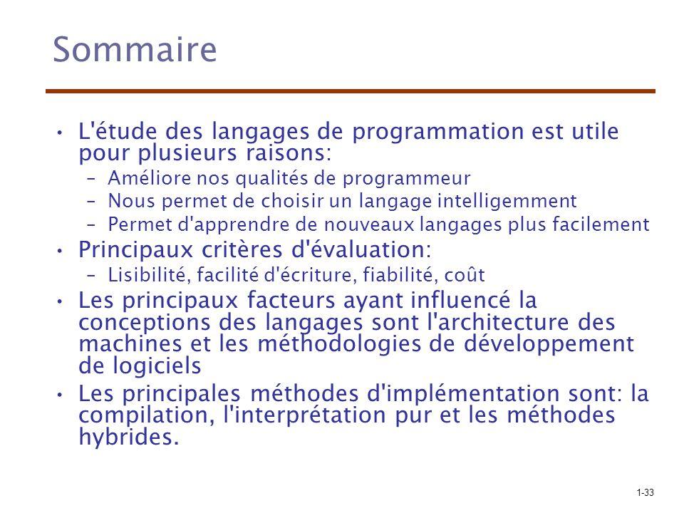 Sommaire L étude des langages de programmation est utile pour plusieurs raisons: Améliore nos qualités de programmeur.