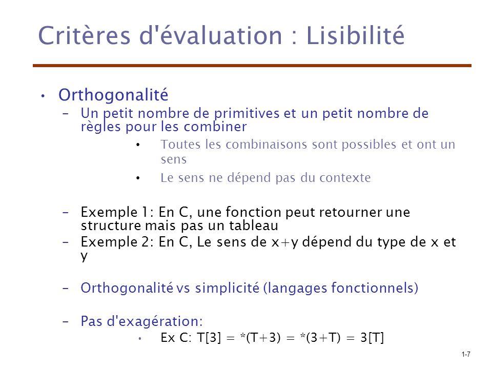Critères d évaluation : Lisibilité