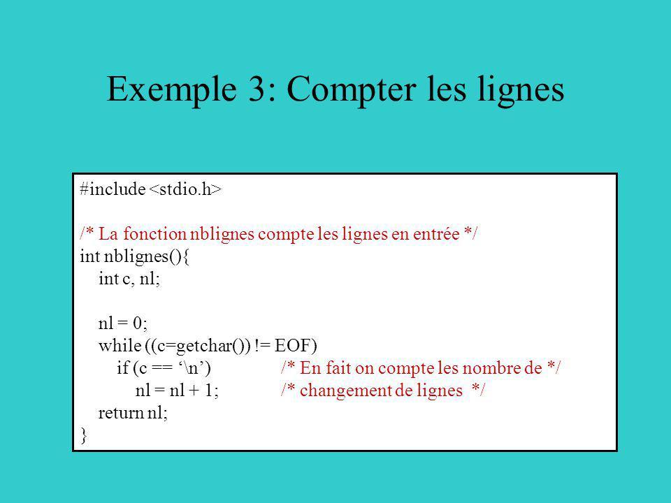 Exemple 3: Compter les lignes