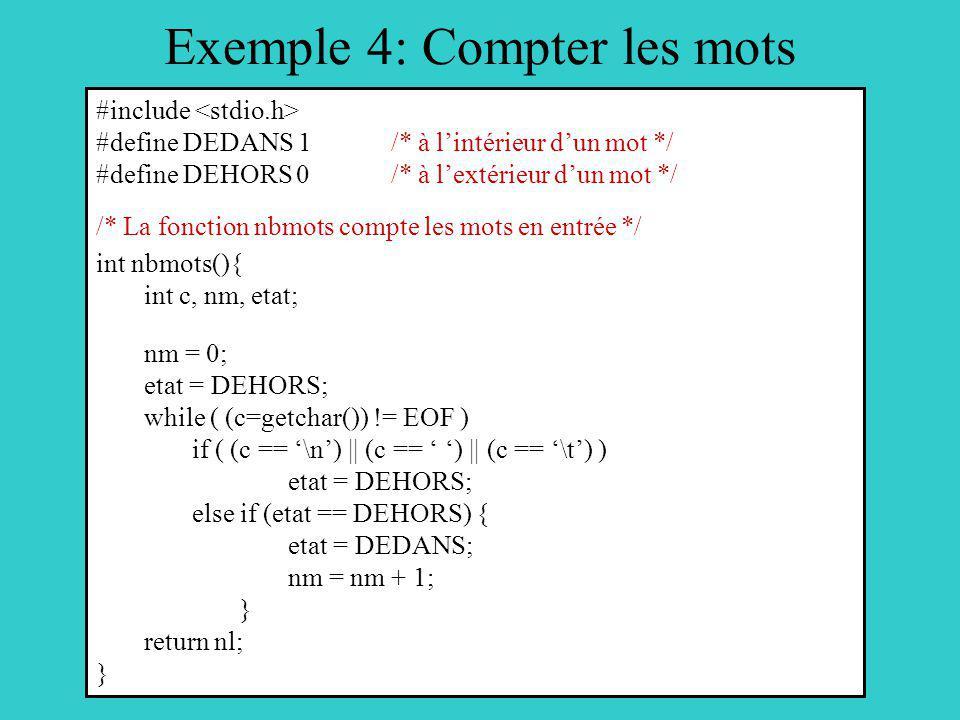 Exemple 4: Compter les mots