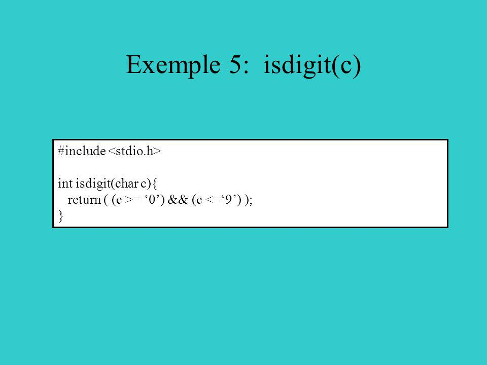 Exemple 5: isdigit(c) #include <stdio.h> int isdigit(char c){