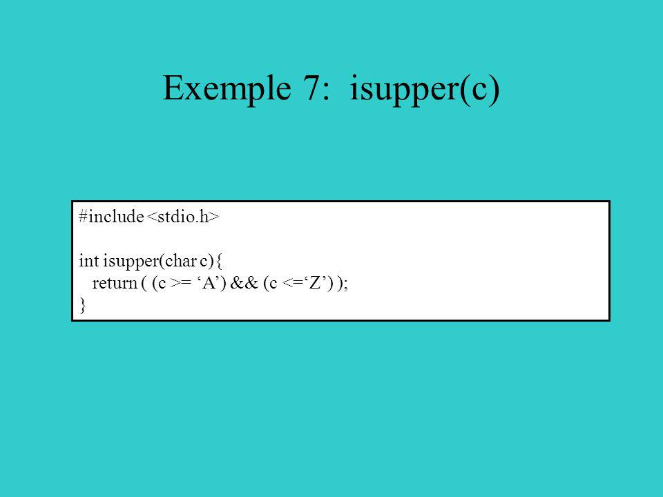 Exemple 7: isupper(c) #include <stdio.h> int isupper(char c){