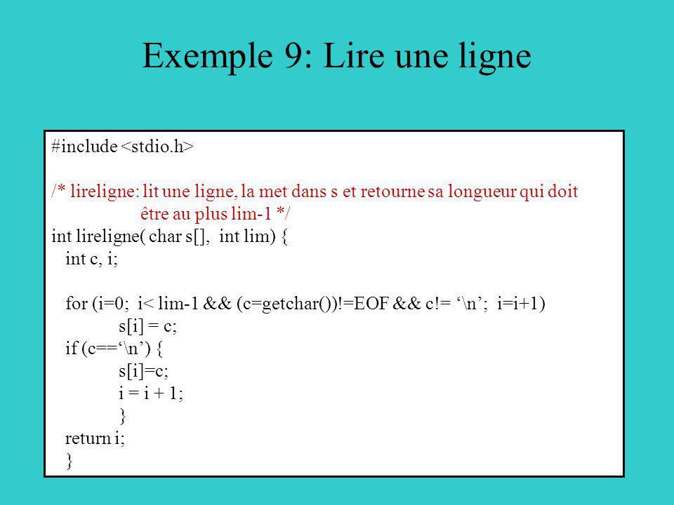 Exemple 9: Lire une ligne