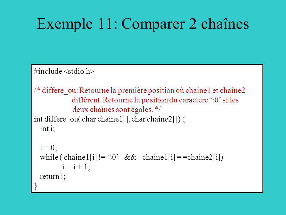 Exemple 11: Comparer 2 chaînes