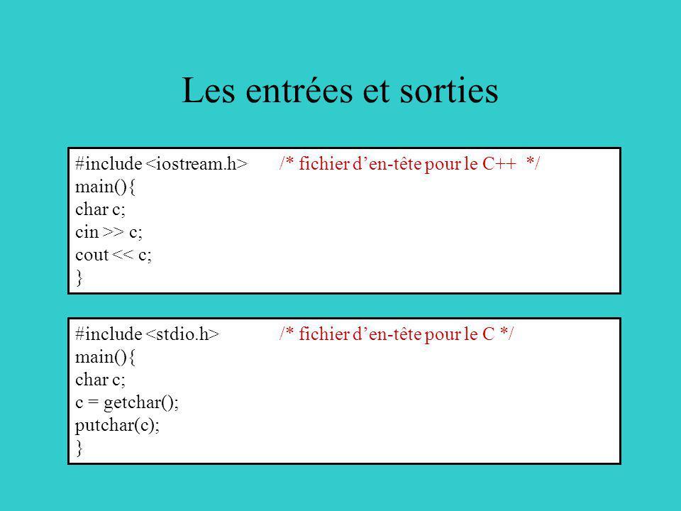 Les entrées et sorties #include <iostream.h> /* fichier d'en-tête pour le C++ */ main(){ char c;