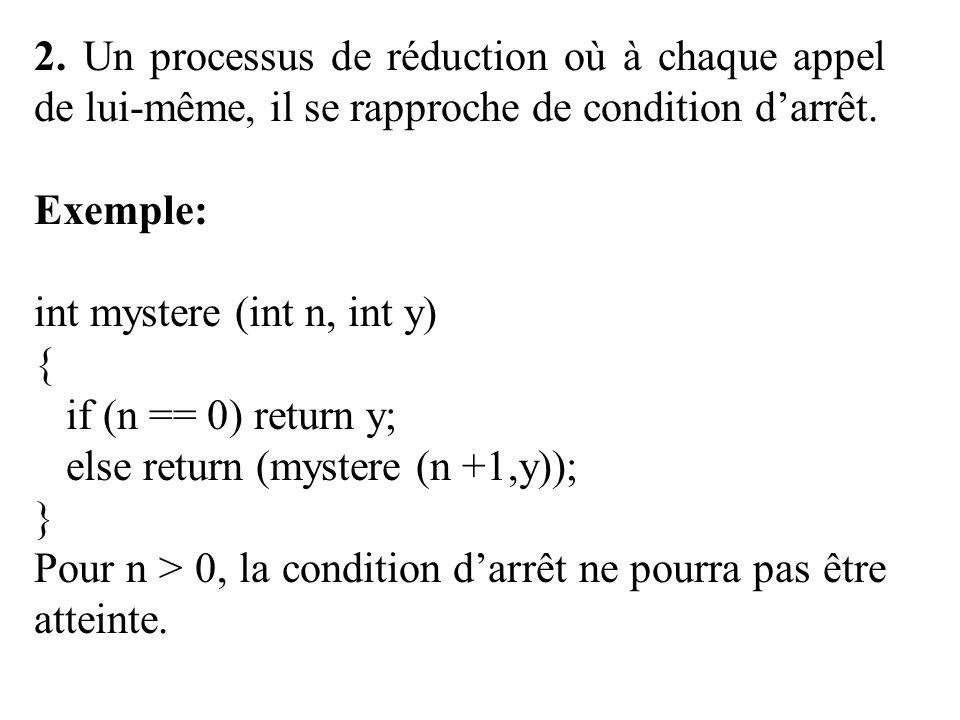 2. Un processus de réduction où à chaque appel de lui-même, il se rapproche de condition d'arrêt.