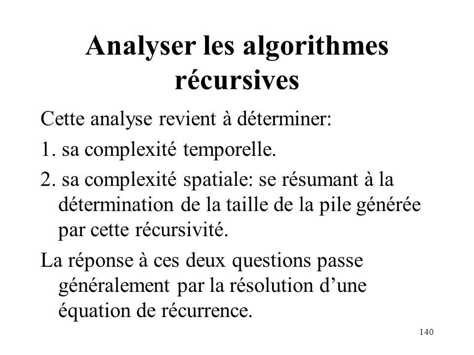Analyser les algorithmes récursives