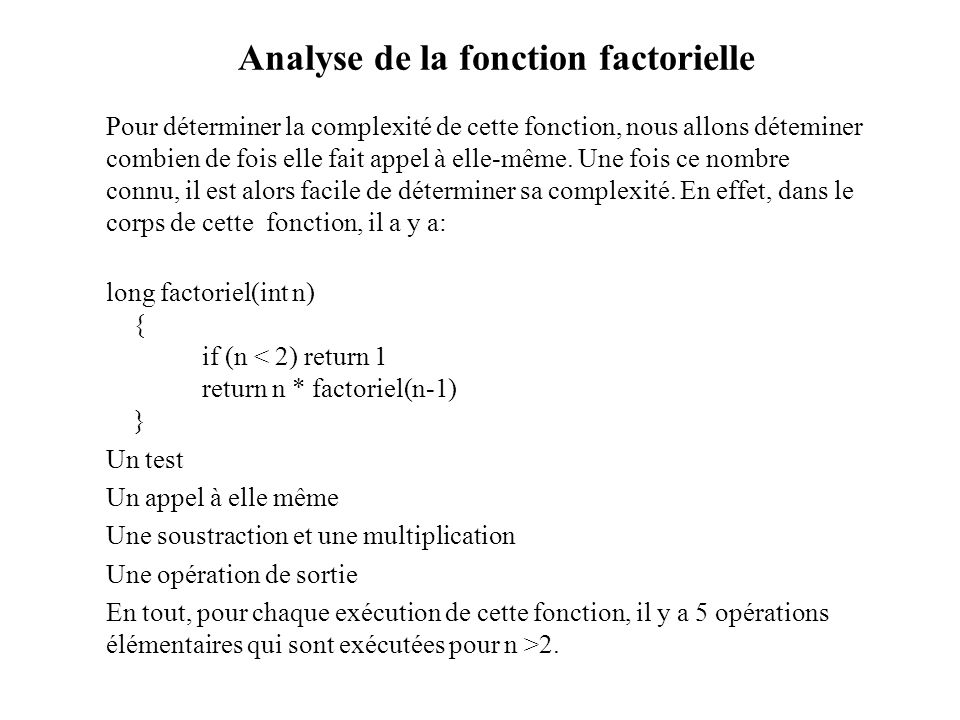 Analyse de la fonction factorielle