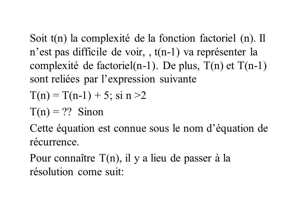 Soit t(n) la complexité de la fonction factoriel (n)