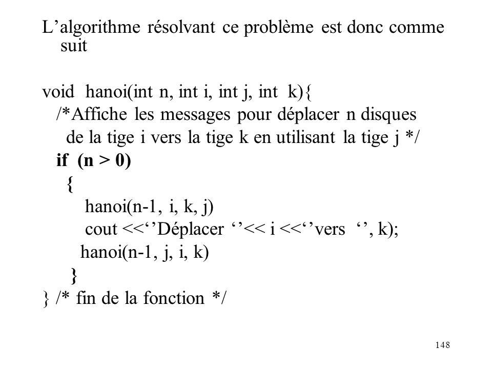 L'algorithme résolvant ce problème est donc comme suit