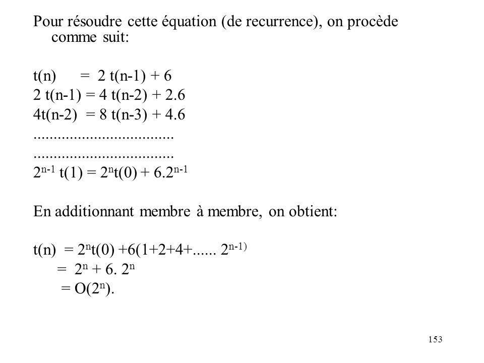 Pour résoudre cette équation (de recurrence), on procède comme suit:
