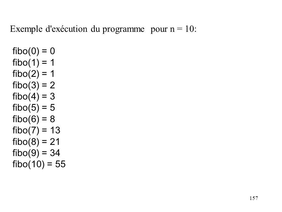 Exemple d exécution du programme pour n = 10: fibo(0) = 0