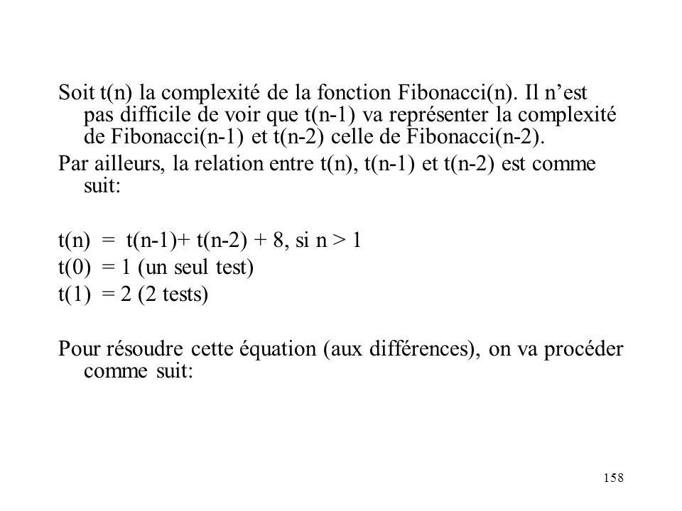 Soit t(n) la complexité de la fonction Fibonacci(n)