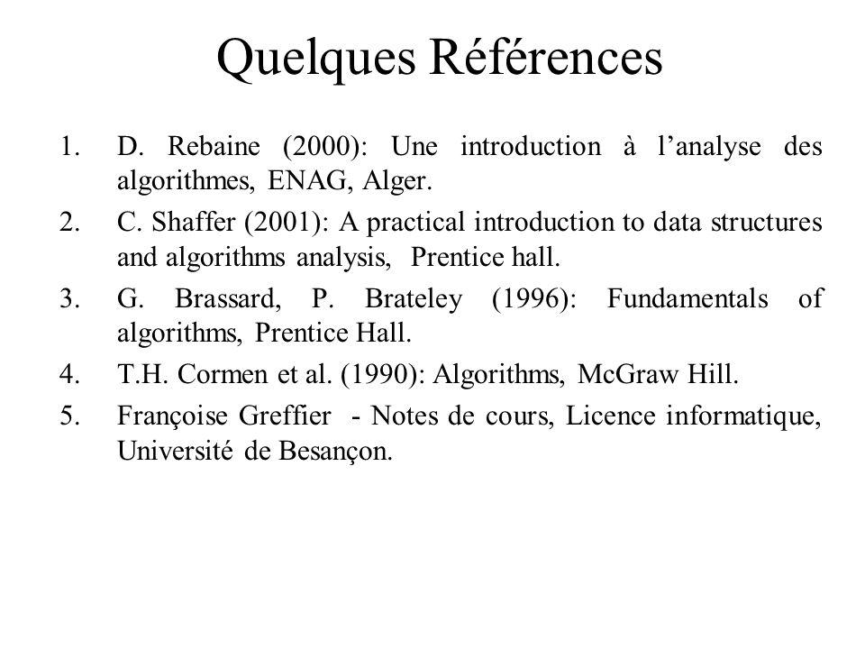 Quelques Références D. Rebaine (2000): Une introduction à l'analyse des algorithmes, ENAG, Alger.