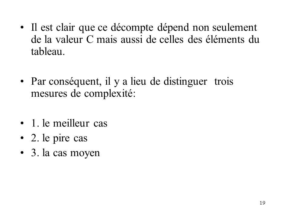Il est clair que ce décompte dépend non seulement de la valeur C mais aussi de celles des éléments du tableau.