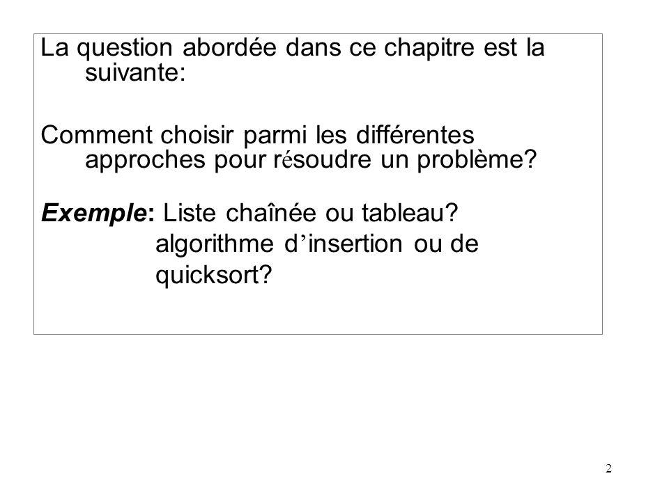 La question abordée dans ce chapitre est la suivante: