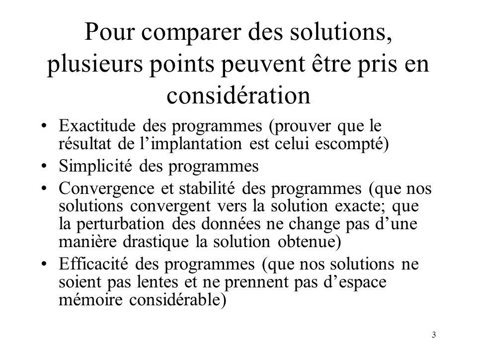 Pour comparer des solutions, plusieurs points peuvent être pris en considération