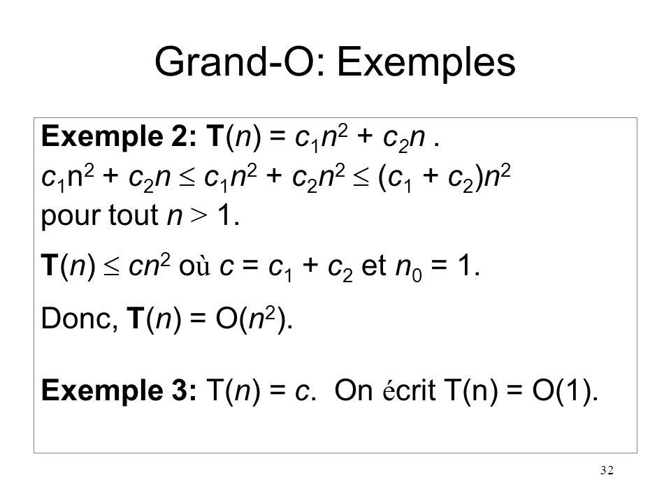 Grand-O: Exemples Exemple 2: T(n) = c1n2 + c2n .