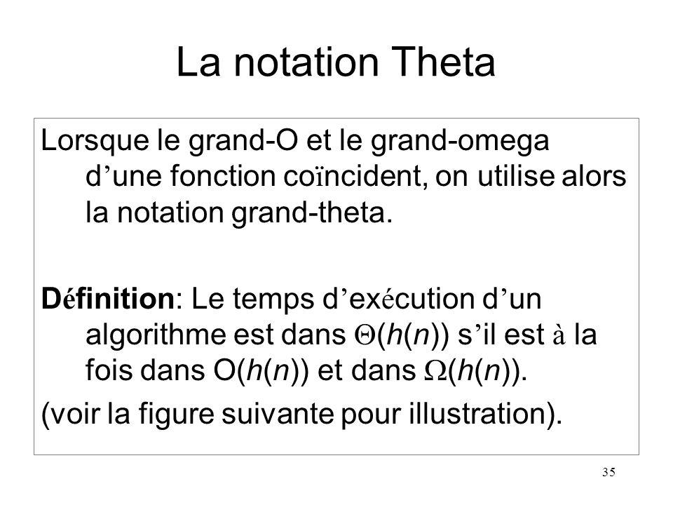 La notation Theta Lorsque le grand-O et le grand-omega d'une fonction coïncident, on utilise alors la notation grand-theta.