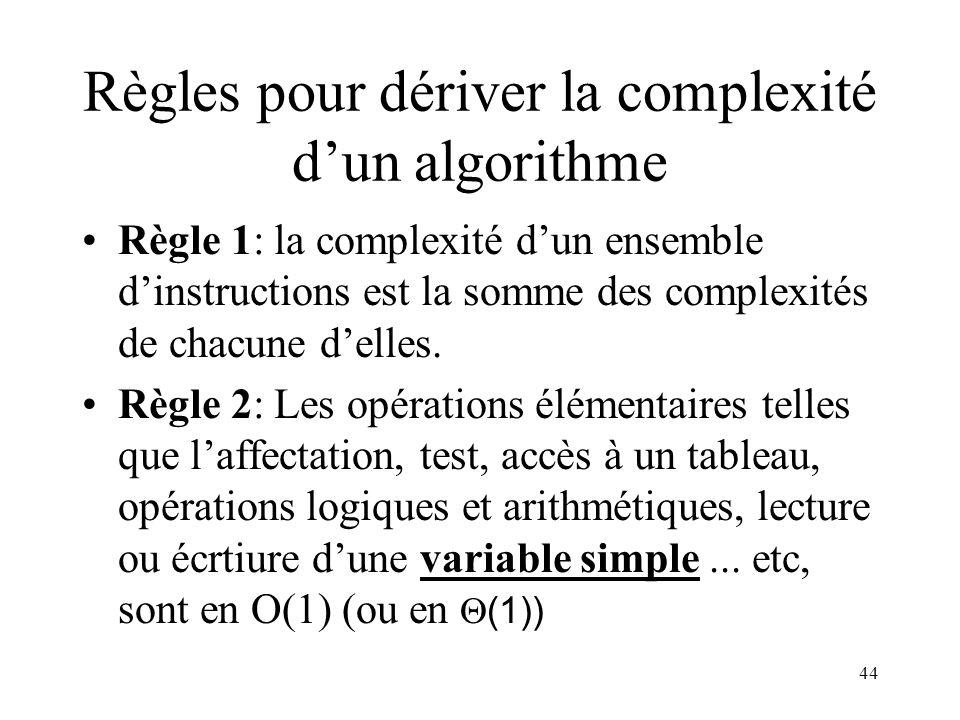 Règles pour dériver la complexité d'un algorithme