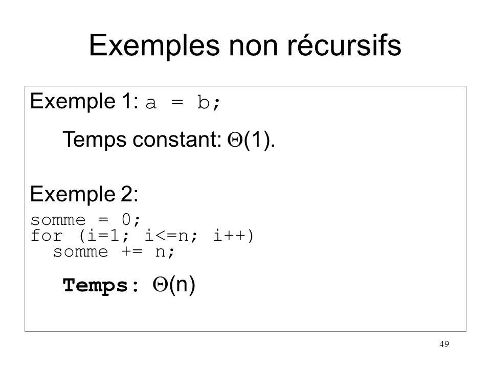 Exemples non récursifs