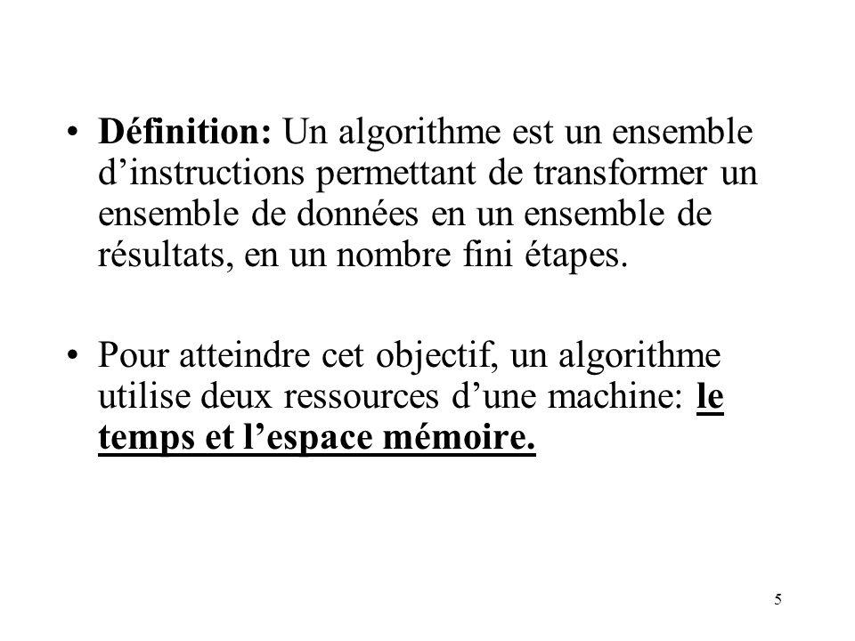 Définition: Un algorithme est un ensemble d'instructions permettant de transformer un ensemble de données en un ensemble de résultats, en un nombre fini étapes.