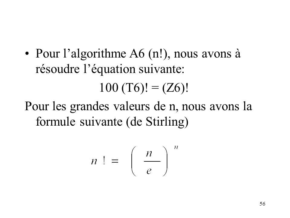 Pour l'algorithme A6 (n!), nous avons à résoudre l'équation suivante: