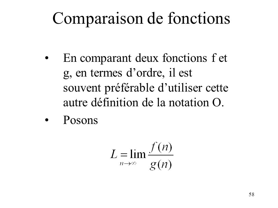 Comparaison de fonctions