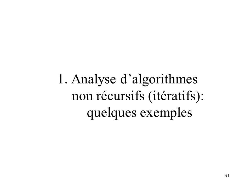1. Analyse d'algorithmes non récursifs (itératifs): quelques exemples