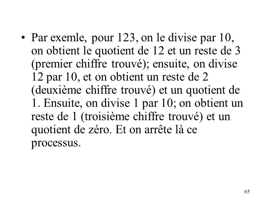 Par exemle, pour 123, on le divise par 10, on obtient le quotient de 12 et un reste de 3 (premier chiffre trouvé); ensuite, on divise 12 par 10, et on obtient un reste de 2 (deuxième chiffre trouvé) et un quotient de 1.
