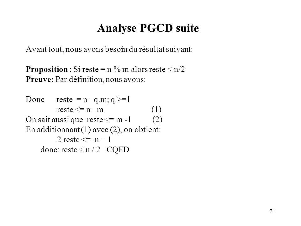 Analyse PGCD suite Avant tout, nous avons besoin du résultat suivant: