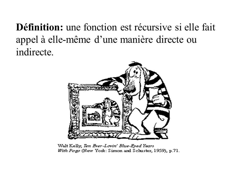 Définition: une fonction est récursive si elle fait appel à elle-même d'une manière directe ou indirecte.