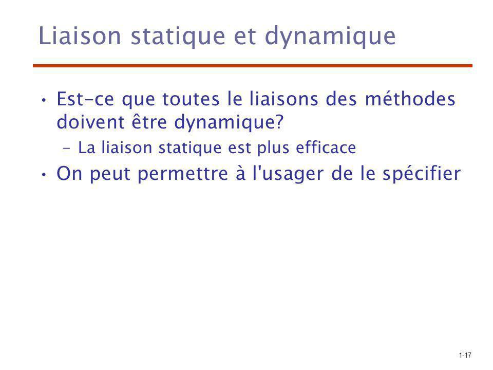 Liaison statique et dynamique